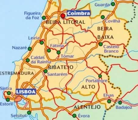 immagine di mappa stradale mappa stradale n.592 - Portogallo centrale - con Coimbra, Lisboa/Lisbona, Leiria, Castelo Branco, Portalegre, Santarem, Fatima