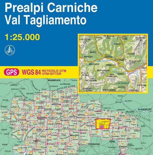 immagine di mappa topografica mappa topografica 013 - Prealpi Carniche - Val Tagliamento