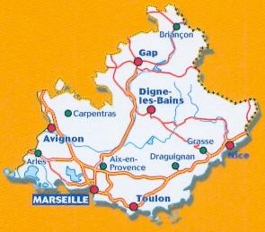 immagine di mappa stradale mappa stradale n. 527 - Provenza - Costa Azzurra - Alpi / Provence - Alpes - Côte d'Azur / Provence - Alps - French Riviera - con Avignon, Nimes, Aries, Aix-en-Provence, Draguignan, Grasse, Menton, Monte Carlo, Monaco, Nice / Nizza, Antibes, Cannes, Fréjus, Saint-Tropez, Porquerolles, Port-Cros, Toulon, La Ciotat, Cassis, Marseille / Marsiglia, Camargue, Digne-les-Bains, Carpentras, Gap, Briançon - mappa stradale con stazioni di servizio e autovelox