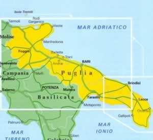 Cartina Dettagliata Puglia.Mappa Stradale Regionale Puglia Mappa Stradale Plastificata