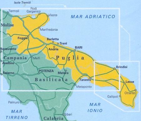 Cartina Topografica Puglia.Mappa Stradale Regionale Puglia Mappa Stradale Con Distanze Stradali Percorsi Panoramici Nuova Edizione