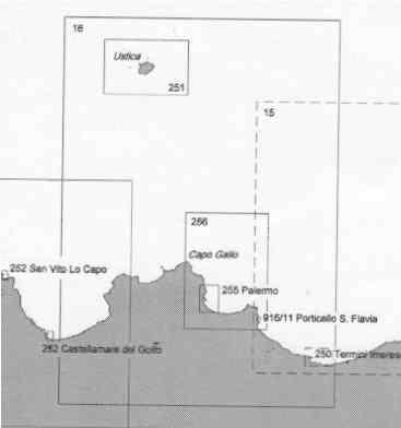 immagine di carta nautica carta nautica 16 - Da C.o Rama a C.o Zafferano e Isola di Ustica