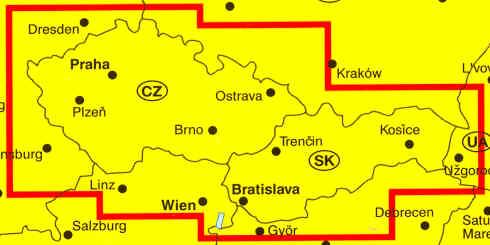 immagine di mappa stradale mappa stradale Repubblica Ceca e Repubblica Slovacca