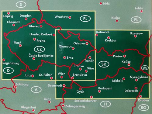 immagine di mappa stradale mappa stradale Repubblica Ceca e Slovacca - mappa stradale con luoghi panoramici, distanze stradali, indice delle località - edizione 2020