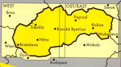 immagine di mappa stradale mappa stradale Repubblica Slovacca \ Slovacchia \ Slowakei \ Slovakia