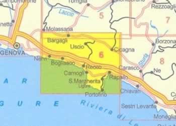 immagine di mappa topografica mappa topografica n.6 - Riviera di Levante - con Promontorio di Portofino, Golfo del Tigullio, Golfo Paradiso, Nervi, Bogliasco, Pieve Ligure, Sori, Recco, Camogli, S.Margherita L., Rapallo, Zoagli, Avegno, Cicagna