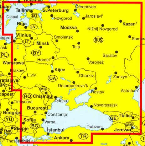 immagine di mappa stradale mappa stradale Russia Europea  con Crimea, Georgia, Armenia e Russia Asiatica con Siberia
