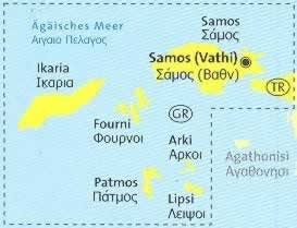 immagine di mappa topografica mappa topografica n.253 - Samos, Ikaria, Fourni, Arki, Patmos, Lipsi (isole della Grecia) - mappa escursionistica, plastificata, con spiagge, percorsi per il trekking, luoghi panoramici e parchi naturali - compatibile con GPS - nuova edizione