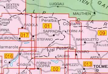 immagine di mappa topografica mappa topografica 01 - Sappada - S.Stefano - Forni Avoltri - con reticolo UTM compatibile con GPS - nuova edizione