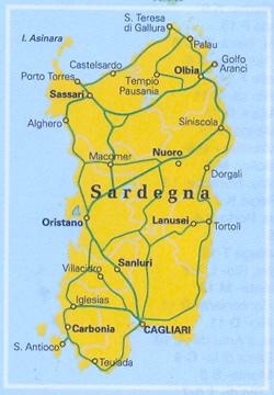 Cartina Dettagliata Sardegna.Mappa Stradale Regionale Sardegna