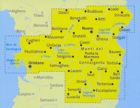 immagine di mappa topografica mappa topografica n.2498 - Sardegna centrale - set di 4 mappe escursionistiche con sentieri per il trekking e MTB - compatibili con GPS