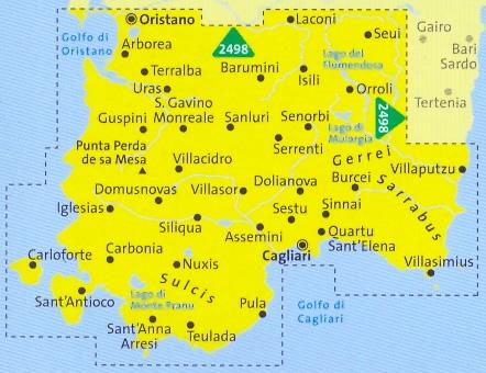 immagine di mappa topografica mappa topografica n.2499 - Sardegna del Sud - set di 4 mappe escursionistiche con sentieri per il trekking e MTB - compatibili con GPS - edizione 2017