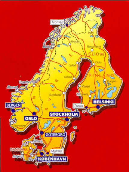 immagine di mappa stradale mappa stradale n.711 - Scandinavia - Danimarca, Norvegia, Svezia e Finlandia - con Stoccolma, Helsinki, Oslo, Kobenhavn, Bergen, Goeteborg
