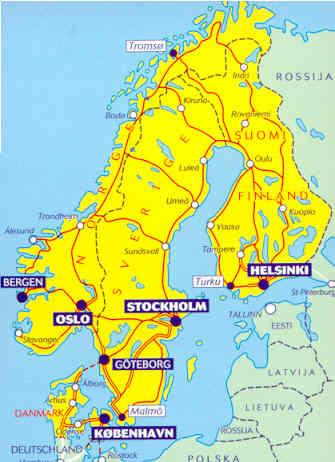 immagine di mappa stradale mappa stradale 711 - Scandinavia, Finlandia