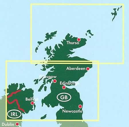 immagine di mappa stradale mappa stradale Scozia e Inghilterra del Nord - con Thurso, Aberdeen, Edinburgo/Edinburgh, Glasgow, Newcastle, Belfast - edizione 2013