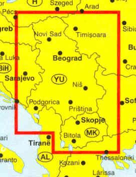 immagine di mappa stradale mappa stradale Serbia, Montenegro, Macedonia