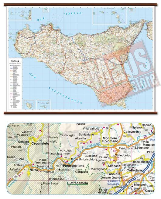immagine di mappa murale mappa murale Sicilia - mappa murale plastificata con eleganti aste in legno - cartografia dettagliata ed aggiornata - 119 x 86 cm