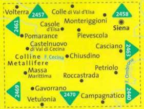 immagine di mappa topografica mappa topografica n.2462 - Siena, Volterra, Massa Marittima, Roccastrada, San Galgano, Pomarance, Colline Metallifere, Petriolo, Gavorrano, Vetulonia, Monteriggioni - con informazioni turistiche, sentieri CAI, percorsi panoramici e parchi naturali - mappa plastificata, compatibile con GPS - nuova edizione