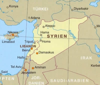 immagine di mappa stradale mappa stradale Siria e Libano - con Aleppo, Damasco e Palmyra - mappa stradale impermeabile e antistrappo