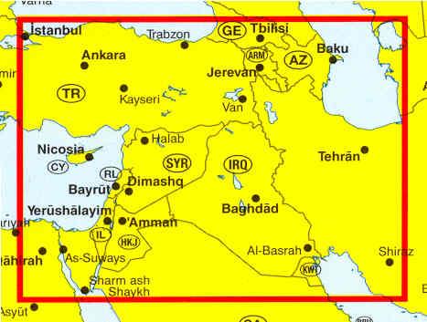 immagine di mappa stradale mappa stradale Siria, Libano, Giordania, Israele, Iraq, Kuwait - edizione 2013