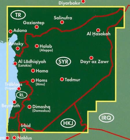 immagine di mappa stradale mappa stradale Siria / Syria - con Damasco, Aleppo, Homs, Hama, Latakia, Deir el-Zor, al-Raqqa, al-Bab, Idlib, Dumā, al-Safīra, Salamiyya, al-Aswad - nuova edizione