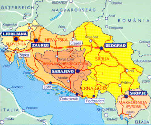 Cartina Slovenia Croazia Bosnia.Mappa Stradale 736 Slovenia Croazia Bosnia Erzegovina Serbia E Montenegro Ex Rep Yugoslava Di Macedonia
