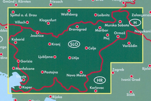 immagine di mappa stradale mappa stradale Slovenia / Slowenien / Slovenija - con Lubiana, Maribor, Kranj, Capodistria, Celje, Novo Mesto, Domžale, Nova Gorica, Velenje, Slovenska Bistrica, Kamnik - edizione 2019