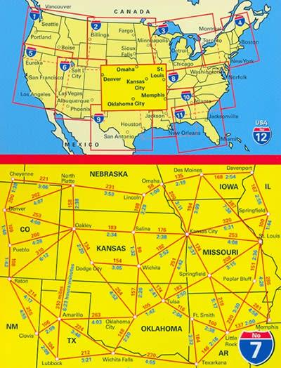 immagine di mappa stradale mappa stradale n.7 - USA South Central - Kansas, Missouri, Iowa, Oklahoma, Iowa, Central Plains, Ozark Plateau, Omaha, Denver, St.Louis, Memphis, Tulsa, Branson, Springfield - con cartografia aggiornata, dettagliata e facile da leggere + guida stradale - edizione 2019