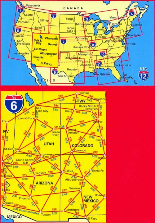 immagine di mappa stradale mappa stradale n.6 - USA SouthWest - con Southern Rockies, Canyon Country, Grand Canyon, Bryce, Colorado, Indian Country, Zion, Arches, Mesa Verde - con cartografia aggiornata, dettagliata e facile da leggere + guida stradale