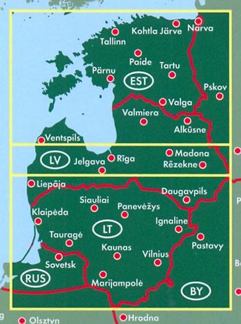 immagine di mappa stradale mappa stradale Stati Baltici - Estonia, Lettonia, Lituania - con Riga, Vilnius, Tallinn - edizione 2019