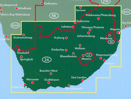 immagine di mappa stradale mappa stradale Sudafrica / South Africa - con Johannesburg, Città del Capo/Cape Town, Durban, Germiston, Gauteng, Pretoria, Port Elizabeth, Bloemfontein, Vanderbijlpark, Msunduzi, Pietermaritzburg, Thulamela, Limpopo, Polokwane/Pietersburg