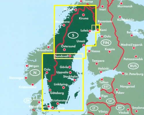 immagine di mappa stradale mappa stradale Svezia - con Stoccolma, Malmo, Goteborg, Sundsvall, Umea, Lulea, Kiruna