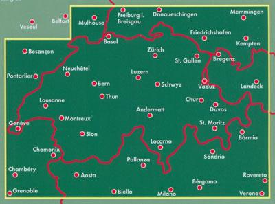 immagine di mappa stradale mappa stradale Svizzera - con Zurigo, Ginevra, Basilea, Losanna, Berna, Winterthur, Lucerna, San Gallo, Lugano, Bienna, St. Moritz, Locarno, Sion, Montreux - nuova edizione