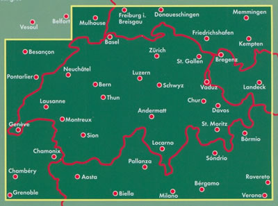 immagine di mappa stradale mappa stradale Svizzera - con Zurigo, Ginevra, Basilea, Losanna, Berna, Winterthur, Lucerna, San Gallo, Lugano, Bienna, St. Moritz, Locarno, Sion, Montreux
