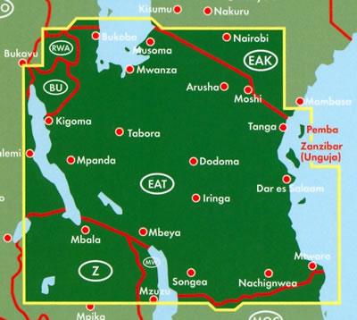 immagine di mappa stradale mappa stradale Tanzania - Arusha, Dar es Salaam, Dodoma, Iringa, Kagera, Kigoma, Kilimanjaro, Lindi, Manyara, Mara, Mbeya, Morogoro, Mtwara, Mwanza, Pemba, Pwani, Rukwa, Ruvuma, Shinyanga, Singida, Tabora, Tanga, Zanzibar - con spiagge e riserve naturali - edizione 2019
