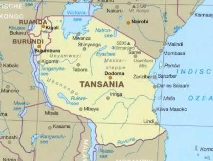 Malindi Cartina Geografica.Mappa Stradale Tanzania Ruanda Burundi Con Dodoma Lindi