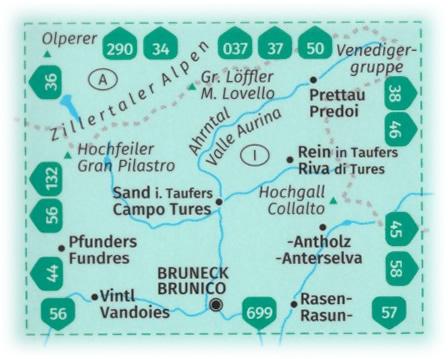 immagine di mappa topografica mappa topografica n.82 - Taufers, Ahrntal, Tures, Valle Aurina, Bruneck/Brunico, Fundres/Pfunders, Predoi/Prettau, Rasen/Rasun, Monte Lovello, Gran Pilastro, Antholz/Anterselva, Vintl/Vandoies - mappa plastificata, compatibile con GPS - edizione 2020