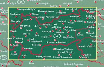 immagine di mappa stradale mappa stradale Tirol / Tirolo - con Innsbruck, Merano, Brixen/Bressanone, Kufstein, Bruneck/Brunico, Sterzing/Vipiteno, Wattens, Umhausen, Karvendel, Kitzbühel, Telfs, Landeck, Imst, Reutte, Schwaz, Krimml, Nauders - nuova edizione