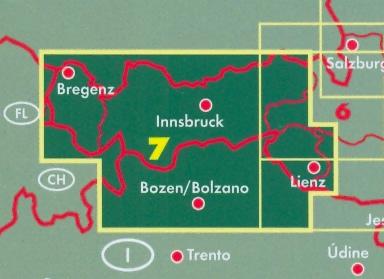 immagine di mappa stradale mappa stradale Tirolo/Tyrol, Vorarlberg - con Merano, Ortles, Bolzano/Bozen, Brixen/Bressanone, Bruneck/Brunico, Val Gardena, Marmolada, Cortina d'Ampezzo, Sterzing/Vipiteno, Bregenz, Lindau, Dornbirn, Bludenz, Sonthofen, Garmisch-Partenkirchen, Telfs, Innsbruck, Schwaz, Wörgl, Kufstein, Kitzbühel, St. Johann, Lienz