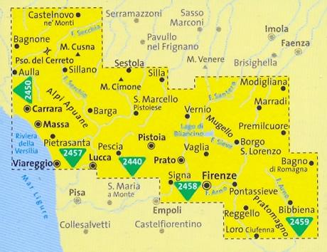 mappa topografica n.2439 - Toscana Nord, Appennino Tosco-Emiliano ...