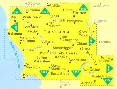 immagine di mappa topografica mappa topografica n.2440 - Toscana centrale - con dintorni di Firenze, Pistoia, Siena, Chianti, San Gimignano, Volterra, Montalcino, Monte Amiata, Colline Metallifere, Pisa, Livorno, Cecina, San Vincenzo - set di 4 mappe, compatibili con sistemi GPS