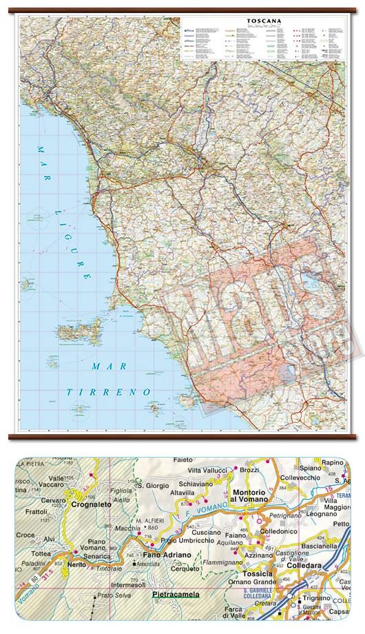 immagine di mappa murale mappa murale Toscana - mappa murale plastificata con eleganti aste in legno - cartografia dettagliata ed aggiornata - 92 x 114 cm