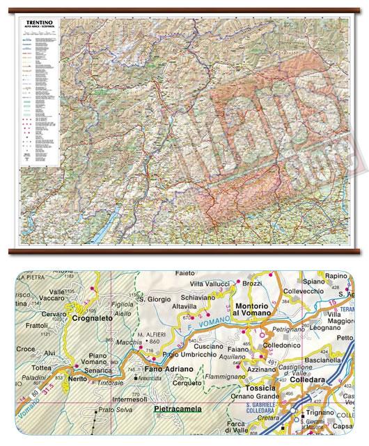 immagine di mappa murale mappa murale Trentino Alto Adige - mappa murale plastificata con eleganti aste in legno - cartografia dettagliata ed aggiornata - 96 x 68 cm