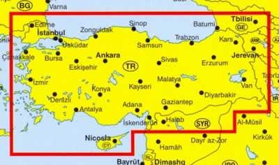 immagine di mappa stradale mappa stradale Turchia - con Ankara, Istanbul, Nicosia, Adana, Antalya, Izmir, Kayseri e Trabzon - edizione 2013