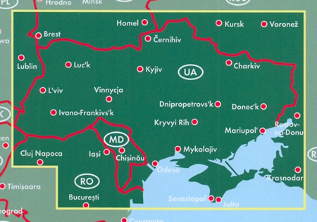 immagine di mappa stradale mappa stradale Ucraina / Ukraine, Moldavia / Moldova - edizione 2019