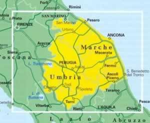 Cartina Geografica Umbria Marche.Mappa Stradale Regionale Umbria E Marche Mappa Plastificata