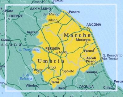 immagine di mappa stradale regionale mappa stradale regionale Umbria e Marche - mappa stradale