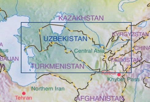 immagine di mappa stradale mappa stradale Uzbekistan - con Samarcanda, Tashkent - mappa stradale