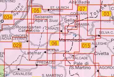 immagine di mappa topografica mappa topografica 06 - Val di Fassa e Dolomiti Fassane - con reticolo UTM compatibile con sistemi GPS