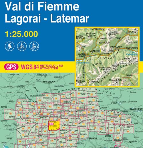 immagine di mappa topografica mappa topografica 014 - Val di Fiemme - Lagorai - Latemar - con reticolo UTM compatibile con GPS - nuova edizione